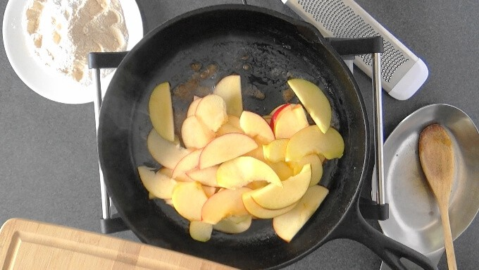 Apples sauteed for German apple pancake