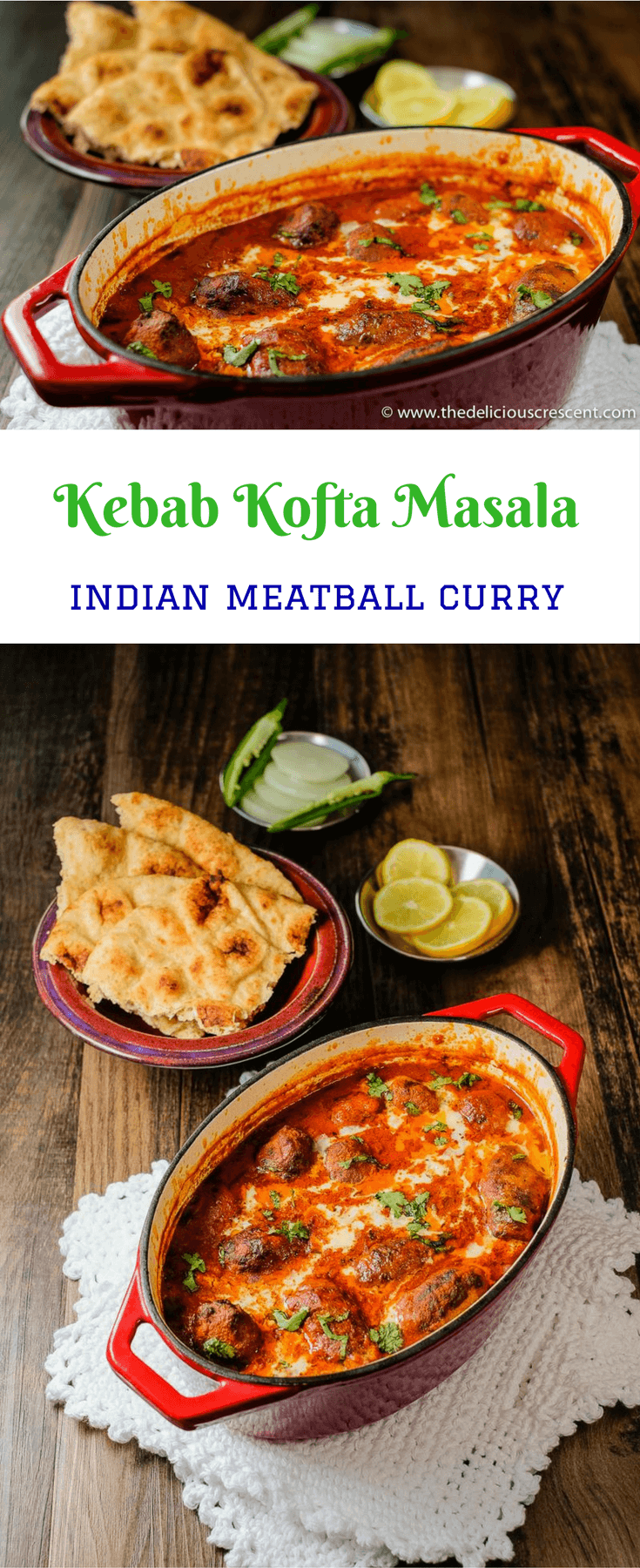 A collage of picures taken of Kebab Kofta Masala, which is a delicious Indian dish of succulent grilled or broiled meatballs in a rich, creamy and spicy gravy.