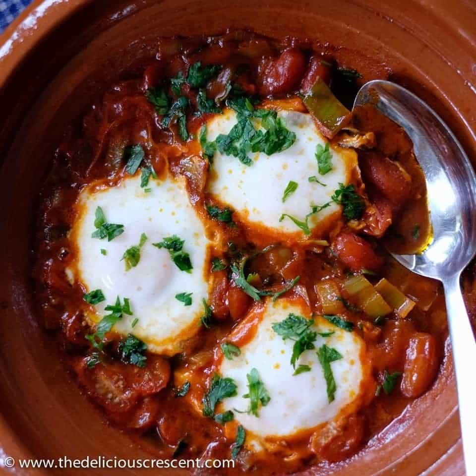 Moroccan style poached eggs is a comfort dish that is healthy and easy to prepare. It is a tasty option for brunch or any other meal of the day.