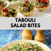 Tabbouleh salad in a bowl and the salad in the form of bite sized appetizers.