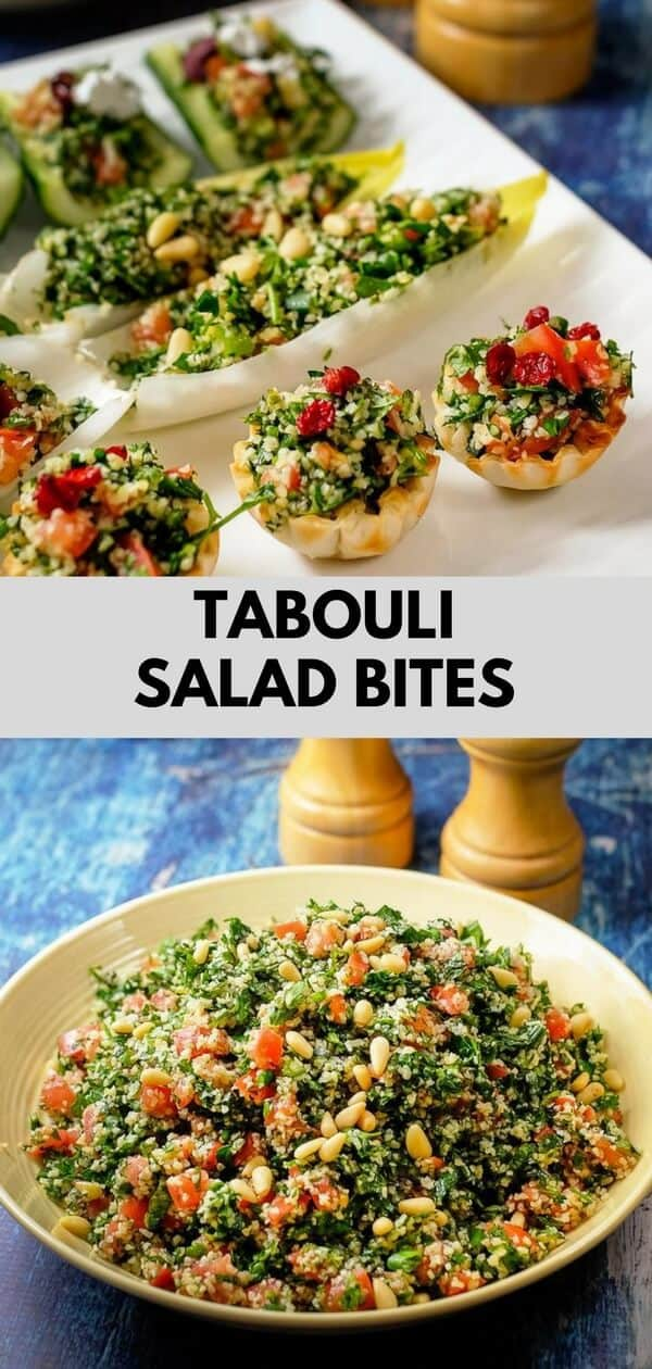 Tabbouleh salad or tabouli is an authentic healthy middle eastern salad of Lebanese origin. It is made with lots of finely chopped fresh parsley, tomatoes, mint, green onions, bulgur and tossed with olive oil and lemon juice. So light, lemony, minty, delicious and refreshing. I show you how to serve this traditional salad as delightful bite sized appetizers! #mediterraneandiet #eggfree #dairyfree #vegan #vegetarian #appetizer #healthysnacks #salads #quickandeasy