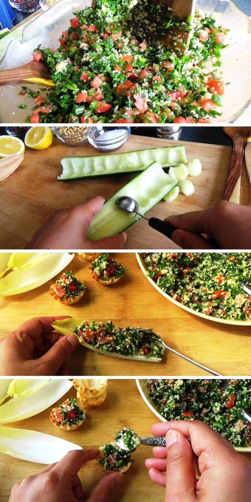 Step by step preparation of bite sized tabouli appetizers.