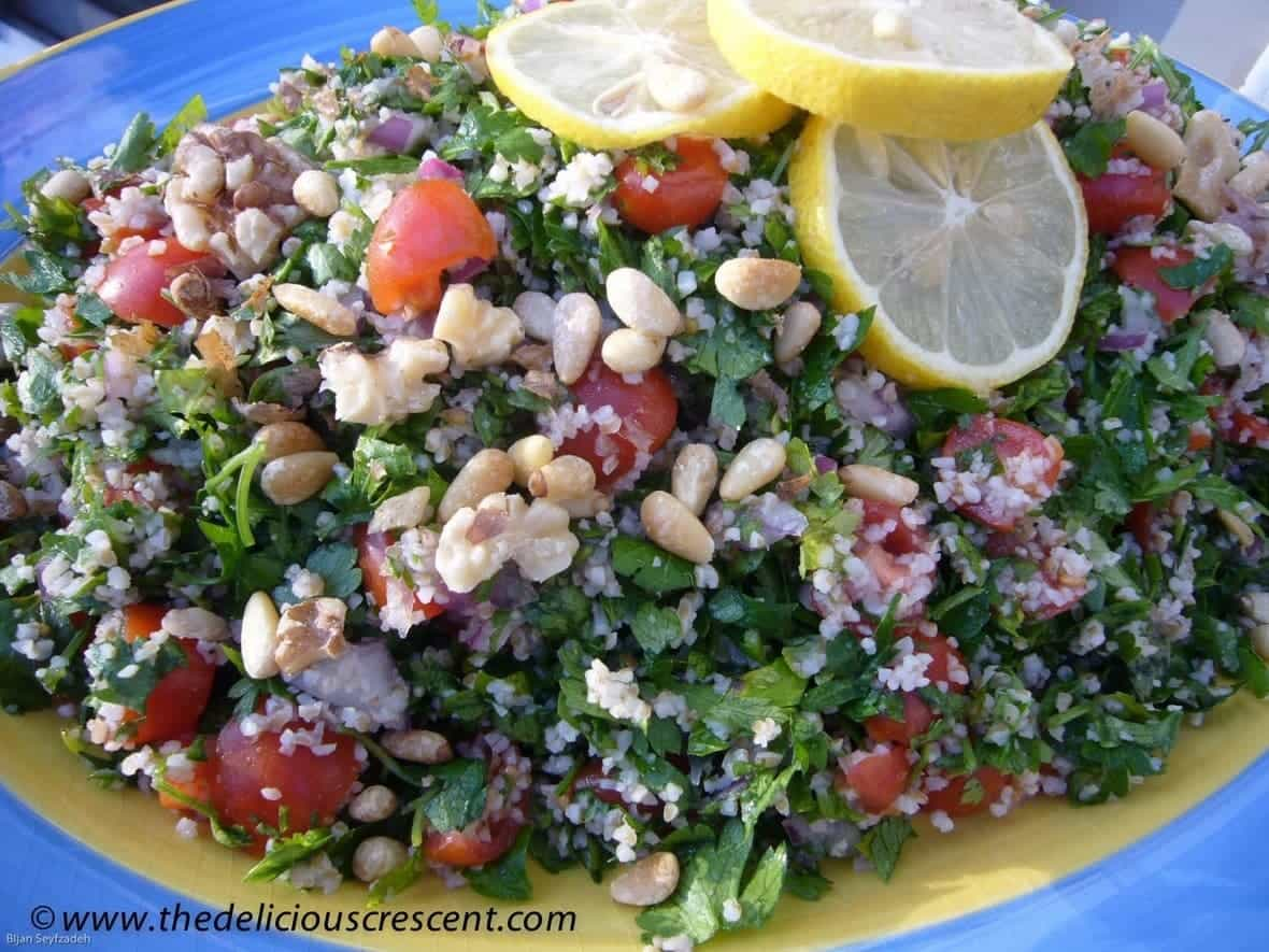 Close up view of Tabbouleh Salad with Pine Nuts