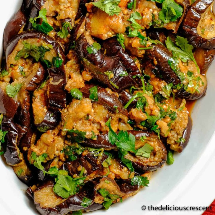Moroccan eggplant salad with chermoula in a serving dish.