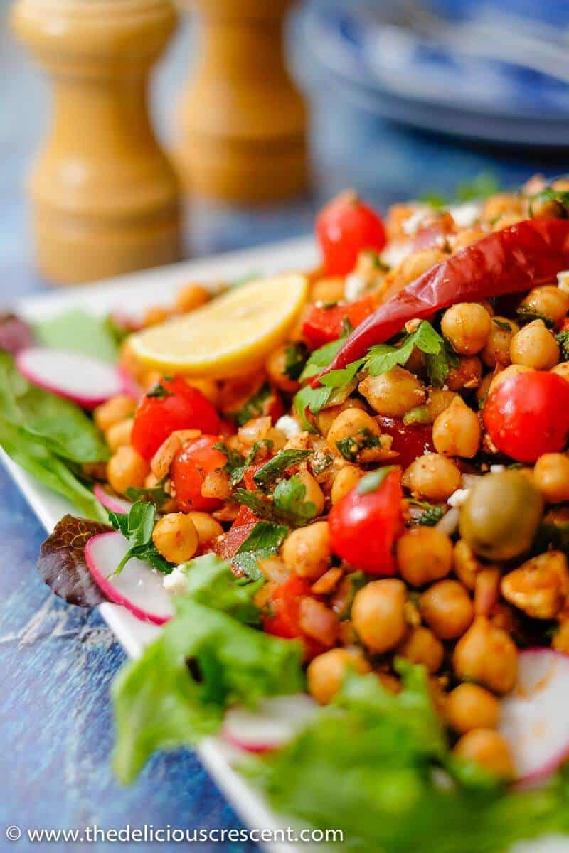 Close up view of the Mediterranean Chickpea Salad