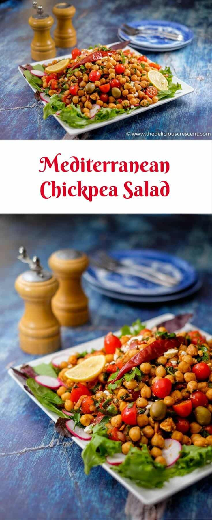 Collage of pictures of the Mediterranean Chickpea Salad