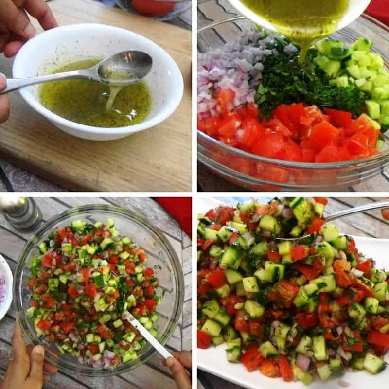 The steps for making tomato cucumber salad.