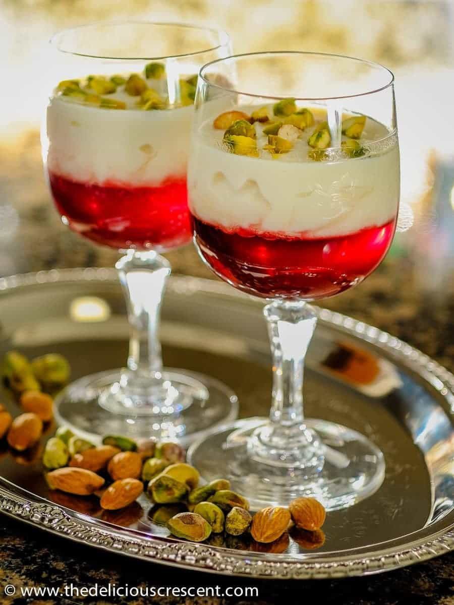 Rose Rice Custard with Pomegranate Jelly served in cups