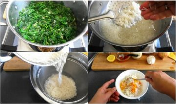 Preparation of spinach, rice and the yogurt-saffron mixture for making the Persian saffron rice (Tahchin Esfenaj)