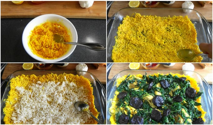 Step by step procedure for making the Persian saffron rice cake (Tahchin esfenaj)