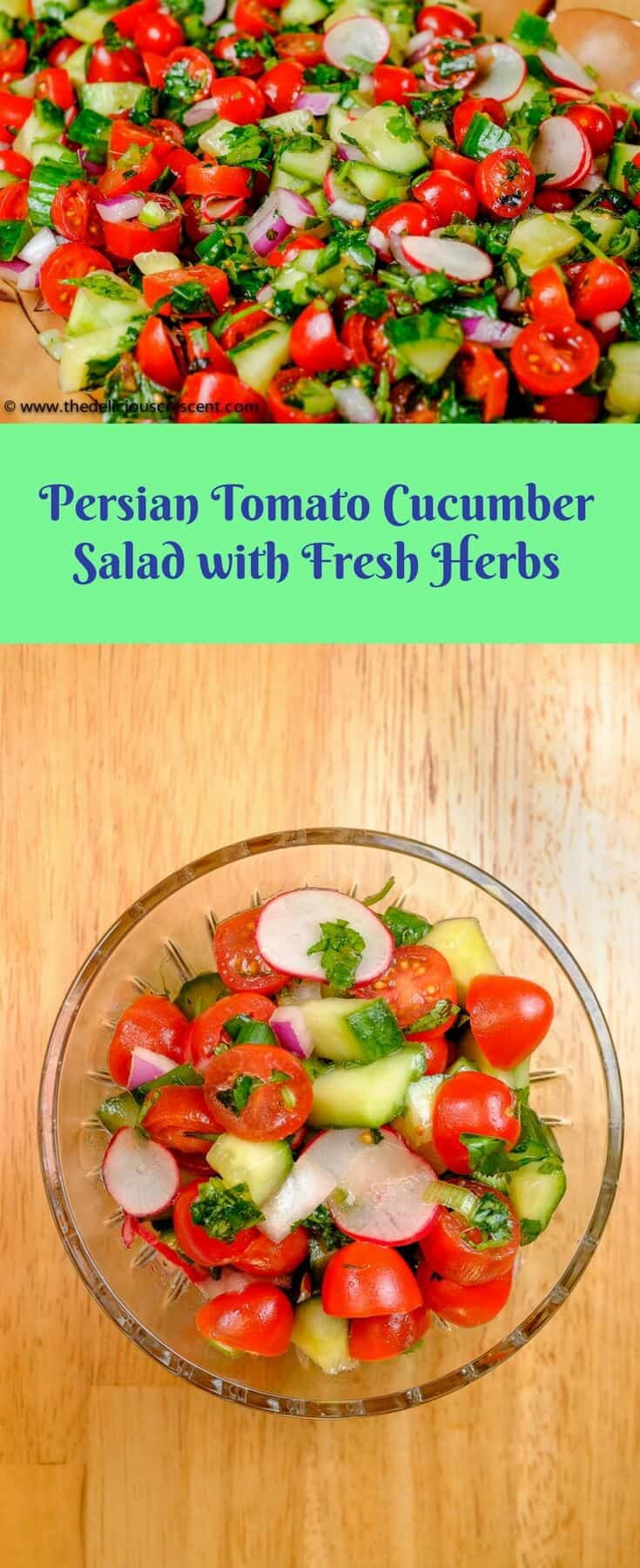 Tomato cucumber salad with fresh herbs is a variation of the popular Persian Salad Shirazi. This refreshing, easy, healthy, low calorie, low carb, crisp and flavorful salad is a total winner! #salad #Persian #tomatoes #glutenfree #lowcarb #cucumber #dairyfree #eggfree #nutfree #quickandeasy #vegan