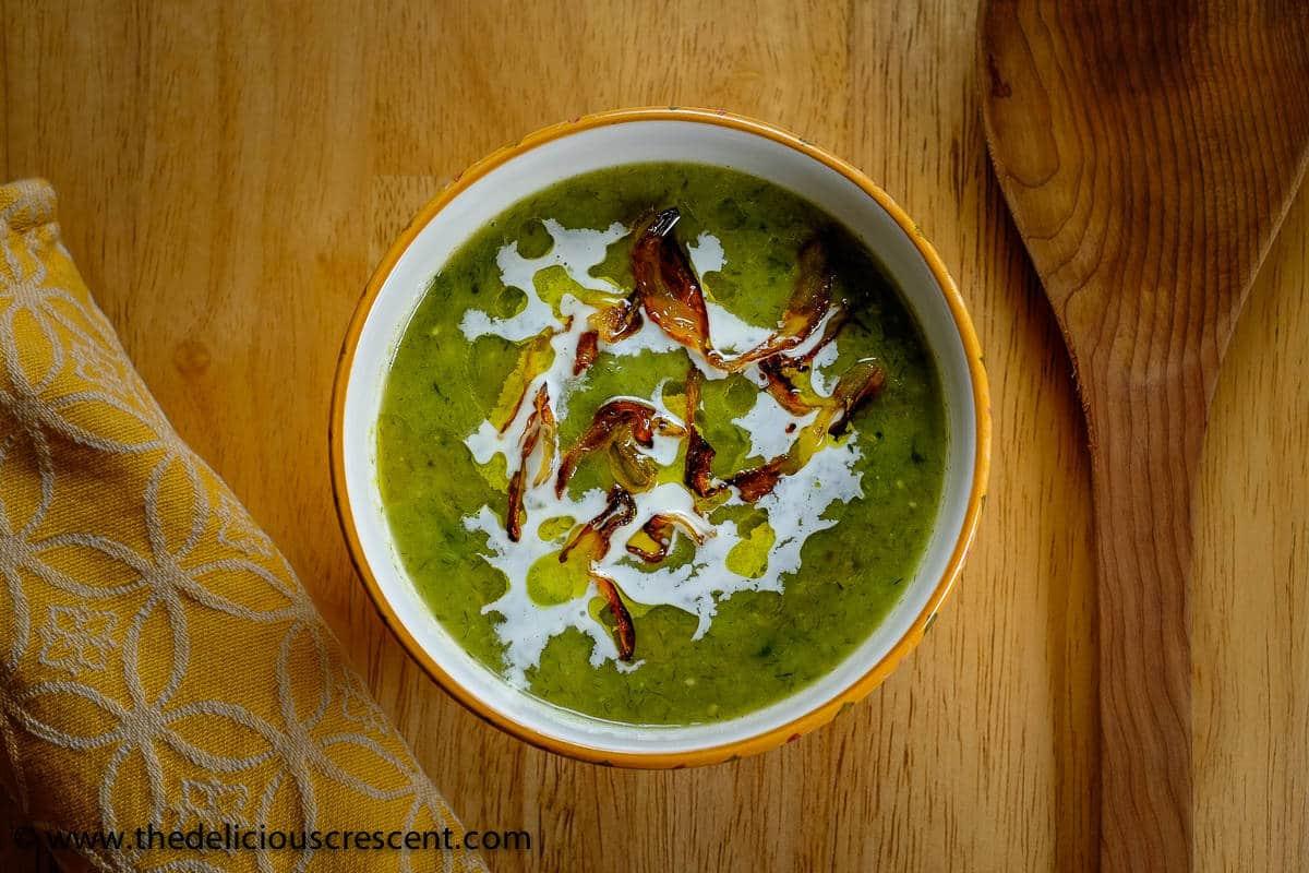 Creamy Leek Avocado Cilantro Soup