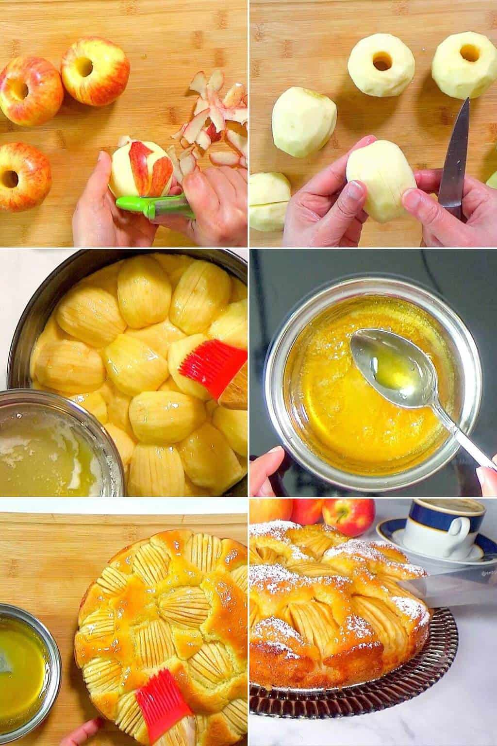 Step by step preparation of apfelkuchen.