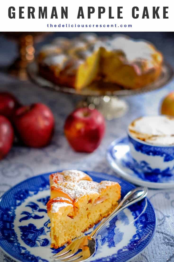 This German apple cake is a light and healthier version of the traditional cake known as Apfelkuchen! A great baking recipe for a quick, easy and delicious dessert that will absolutely impress. It is also nut-free and freezer-friendly. #dessertrecipes #healthyrecipes