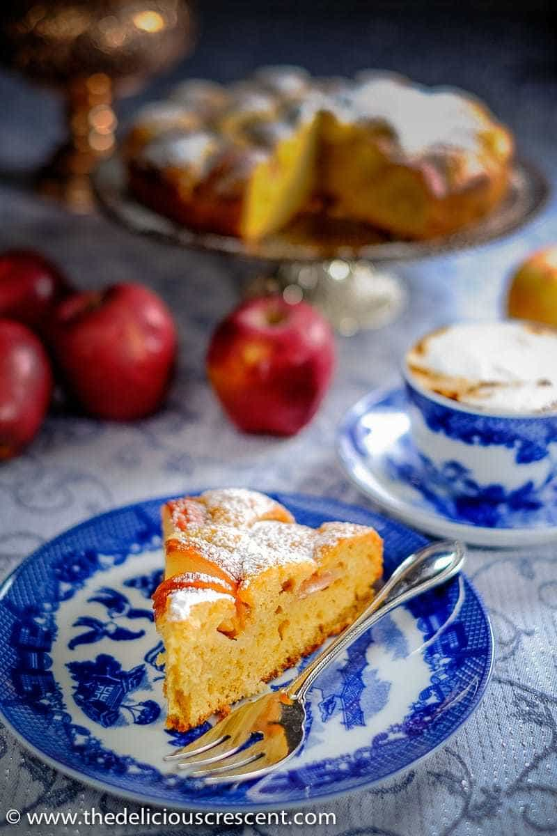 German apple cake served on a plate