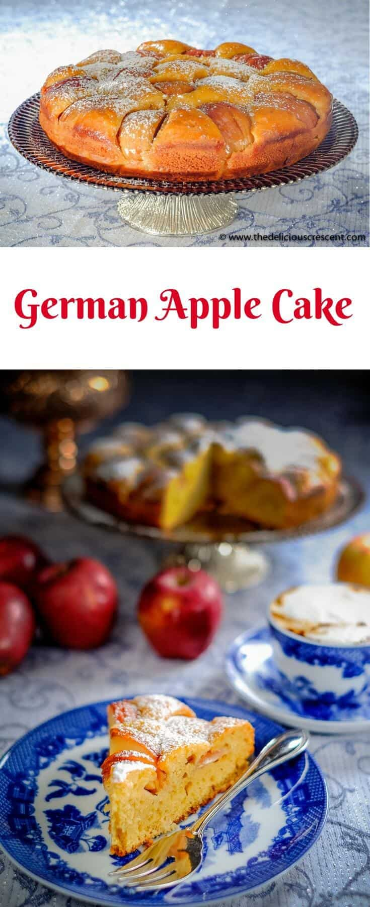 Collage of pictures of the German apple cake