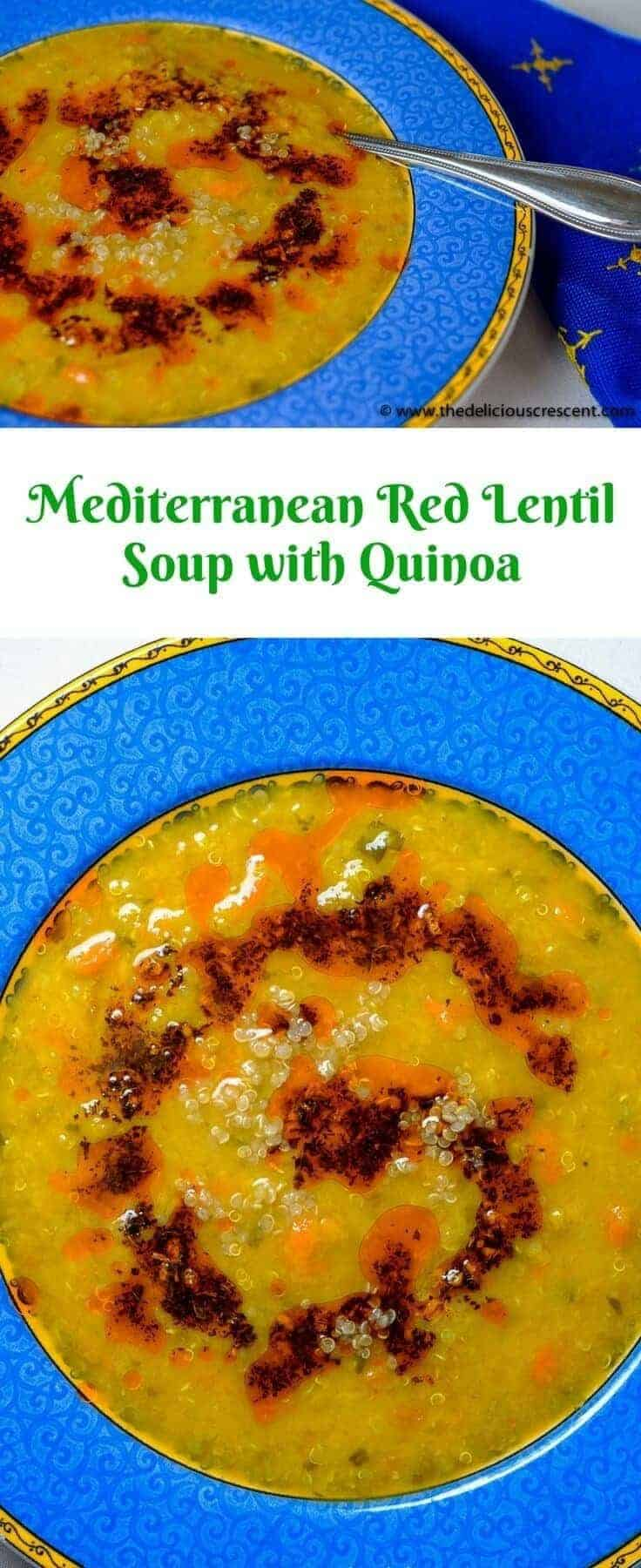 Mediterranean red lentil soup is one of my favorite soups and is so easy to prepare. Full of flavor and very healthy. It is gluten free and a good source of protein and fiber.