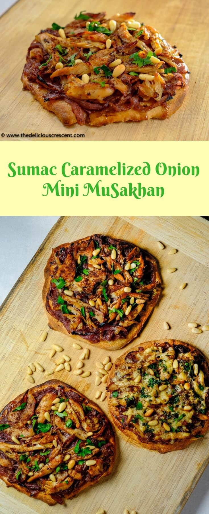 Collage of pictures of sumac caramelized onion mini musakhan
