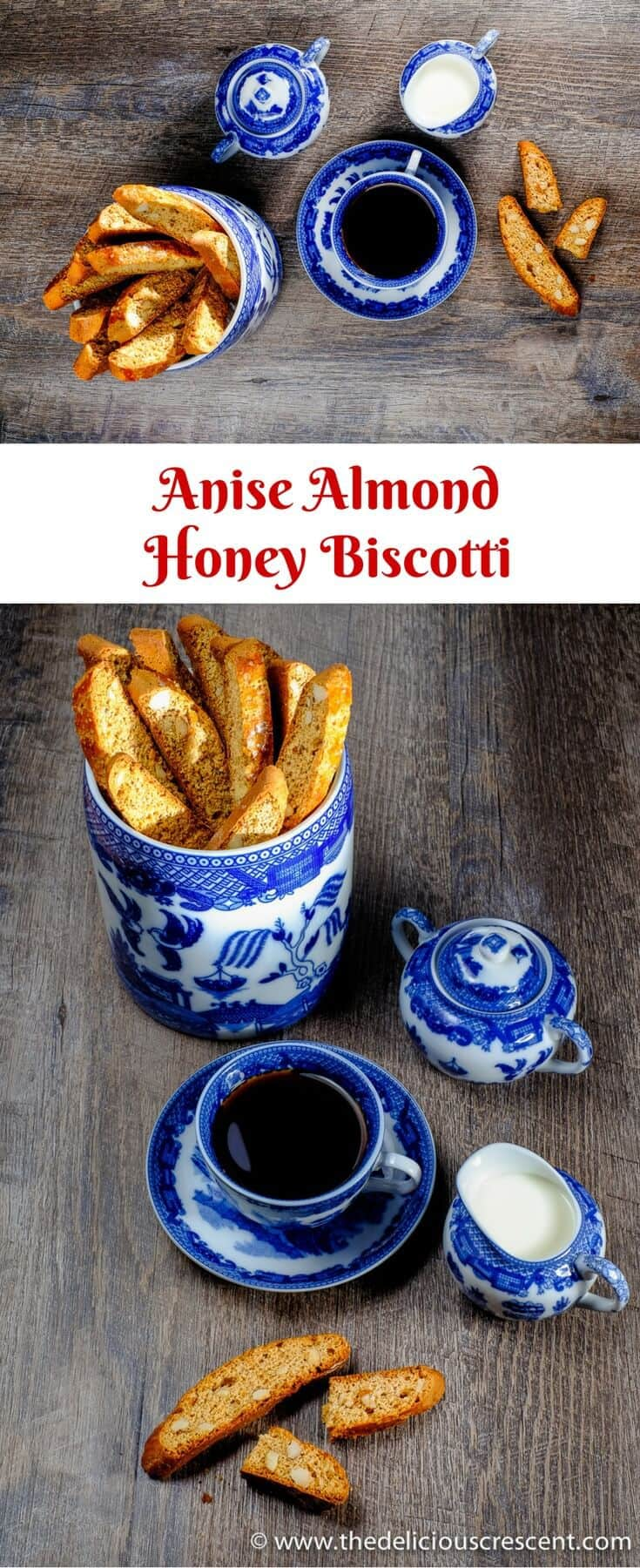 Collage of pictures of anise almond honey biscotti