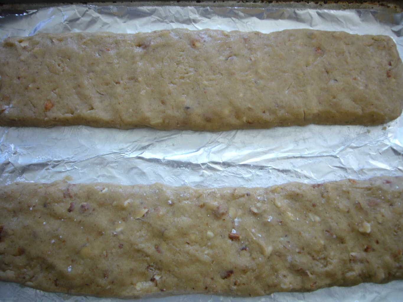 Anise Almond Honey Biscotti dough shaped into logs