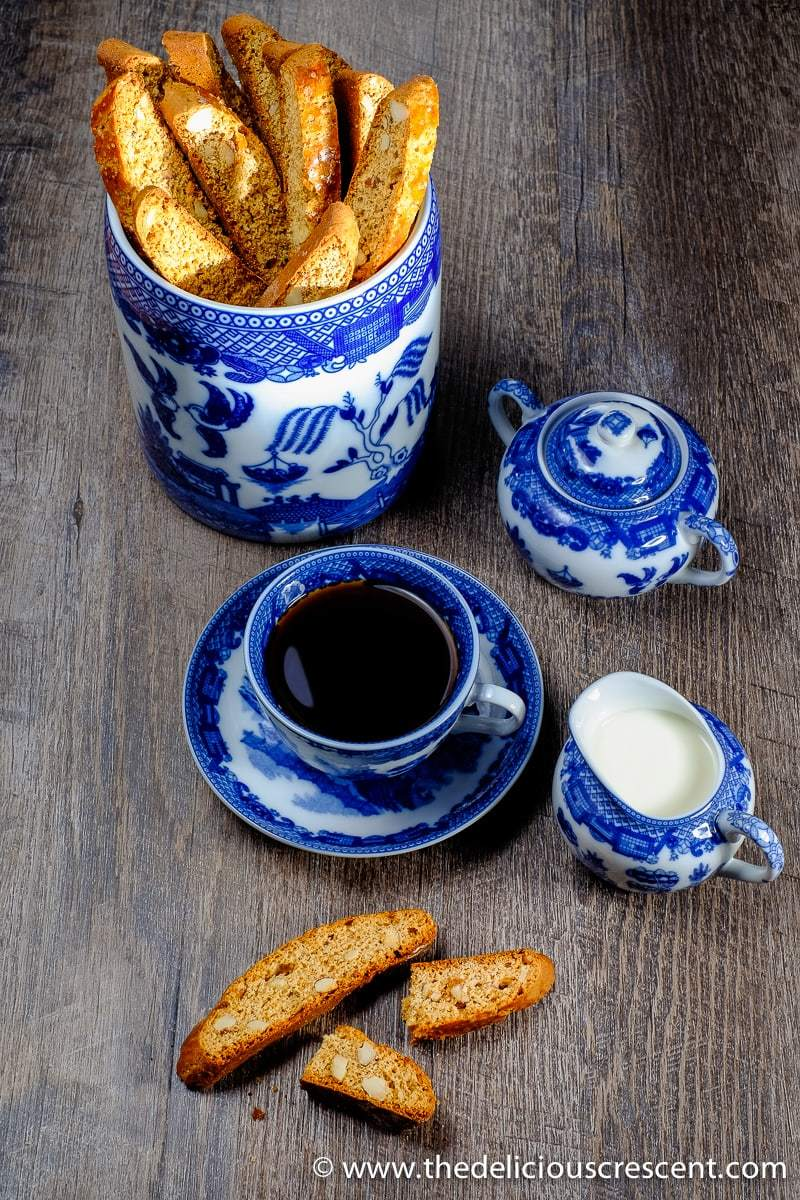 Anise Almond Honey Biscotti served with tea