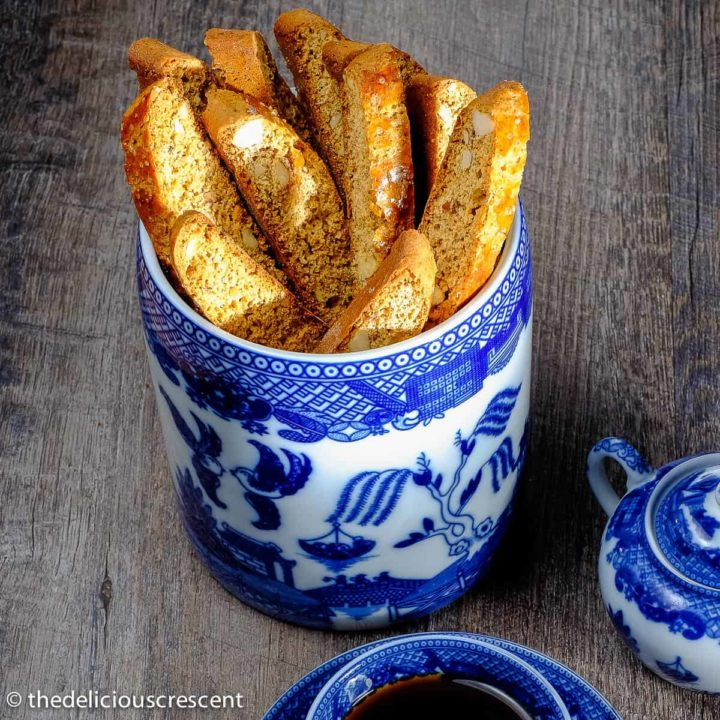 Anise almond biscotti arranged in a cookie jar.