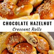 Different views of a basket full of chocolate hazelnut rolls.