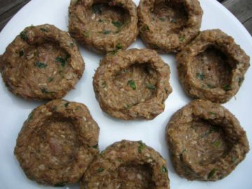 Meatballs prepared for stuffing to make creamy cauliflower stuffed meatballs (Pasha's kofta).
