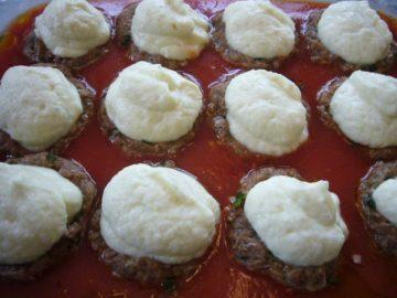 Creamed cauliflower stuffed in meatballs.