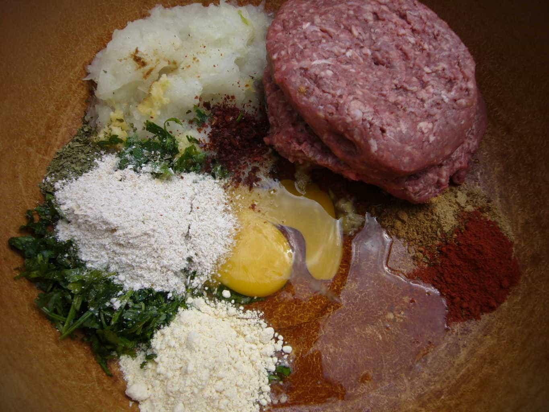 Ingredients for making Creamy Cauliflower Stuffed Meatballs (Pasha's Kofta)