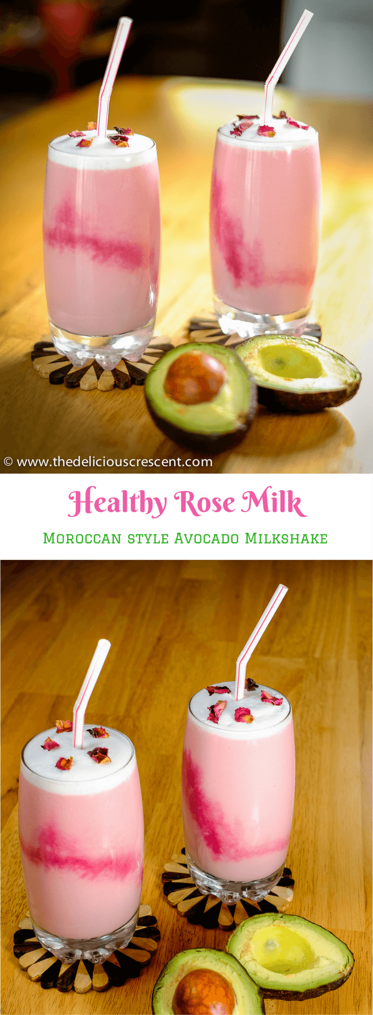 Healthy Rose Milk is a Moroccan style avocado smoothie. It is so creamy, fragrant, delicious and heart healthy. And it is a good source of monounsaturated fats, potassium and protein. #avocado #glutenfree #healthyrecipes #eggfree #nutfree #quickandeasy