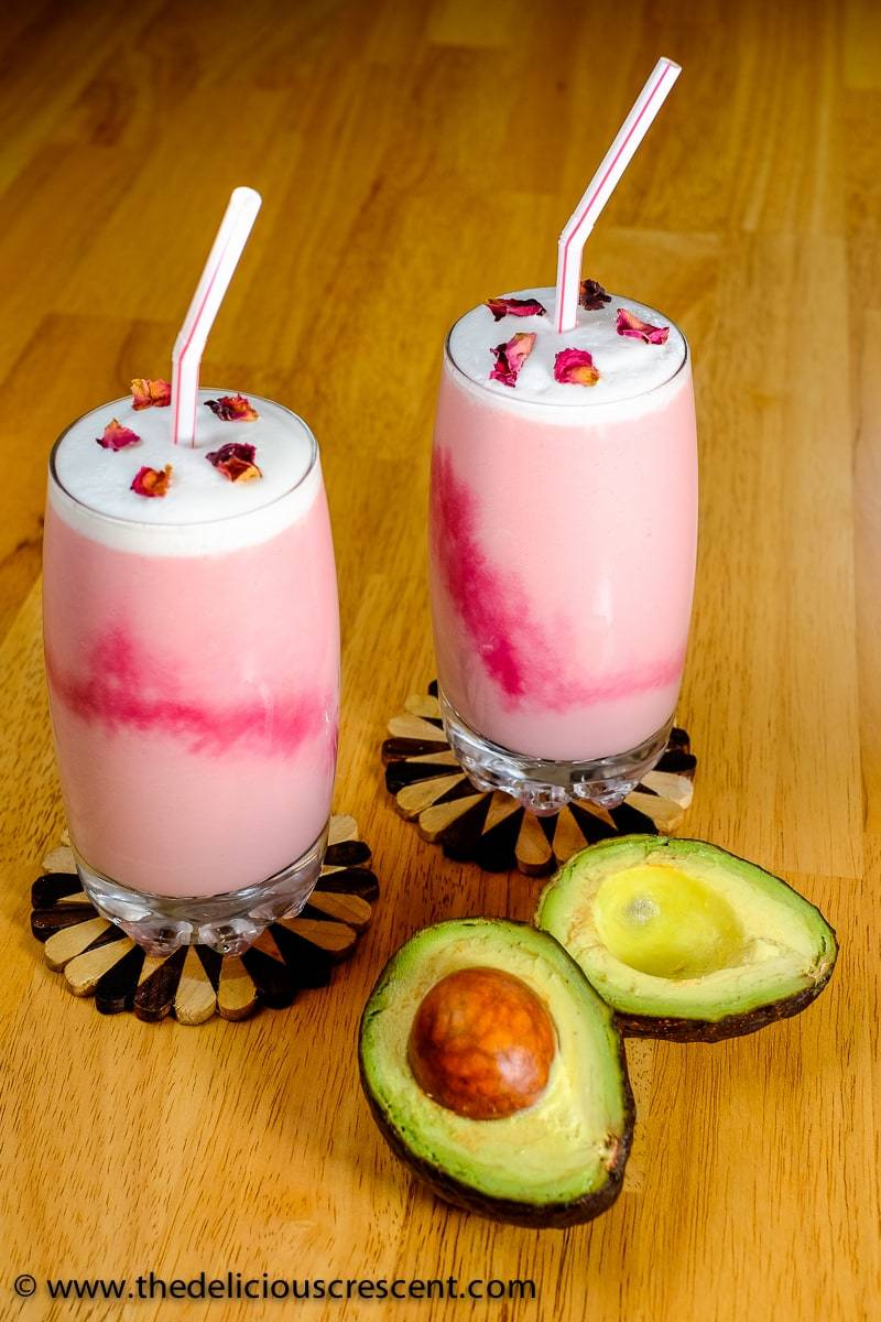 Healthy Rose Milk is a Moroccan style avocado smoothie. It is so creamy, fragrant, delicious and heart healthy. And it is a good source of monounsaturated fats, potassium and protein. It is made with avocado, beet juice, honey, rose water etc.