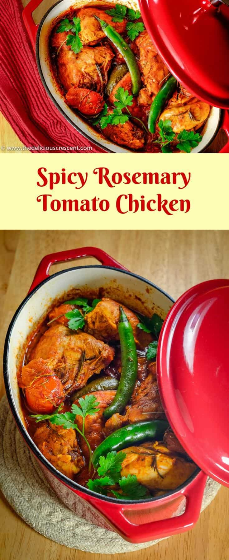 Spicy Rosemary Tomato Chicken - Rosemary, aromatic eastern spices and hot peppers in a rich tomato gravy make a great flavor combination for tasty chicken stew!! #stew #glutenfree #lowcarb #dairyfree #eggfree #tomato #chicken #nutfree