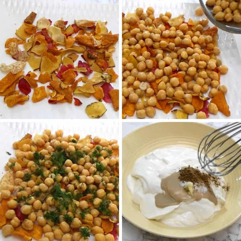 Layers of vegetable chips, cooked chickpeas, herbs, spices and creamy yogurt to make Fatteh recipe.