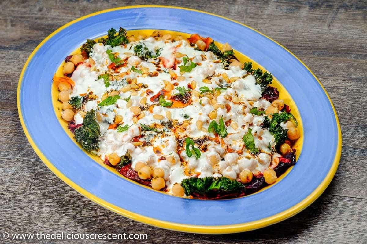 Yogurt Chickpea Salad with Veggie Chips