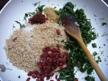 All the ingredients used for making the crust for almond crusted baked fish.