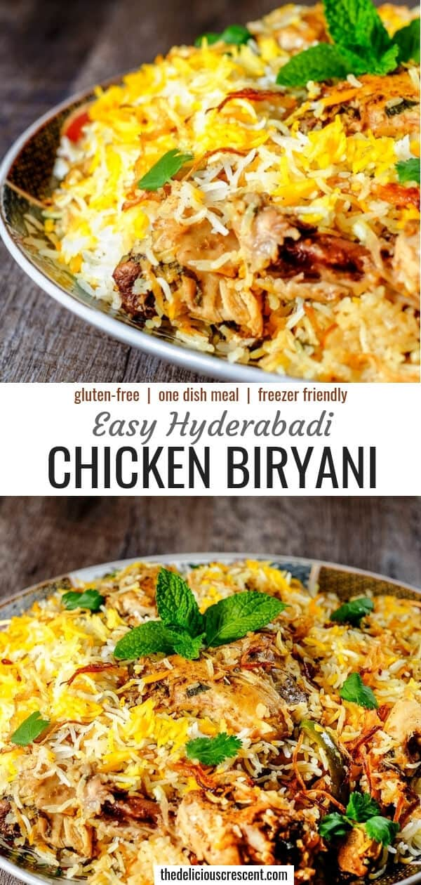 Overhead view of chicken biryani served on a plate.