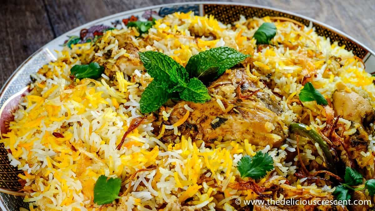 Close up view of Hyderabadi chicken biryani.