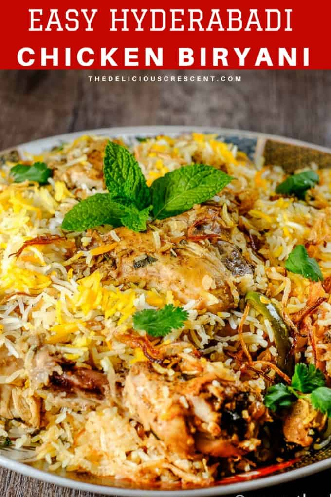 Hyderabadi chicken biryani is an aromatic, mouth watering and authentic Indian dish with succulent chicken in layers of fluffy rice, fragrant spices and caramelized onions. It is easier than most recipes while truly retaining the authentic taste and presented step by step. Cook like a native but with more ease!   Hyderabadi Biryani   Indian Food   Main Course   Gluten Free   Rice Cooker Biryani   #chicken #Indianrecipes #glutenfree #baking #freezerfriendly #holidayrecipes