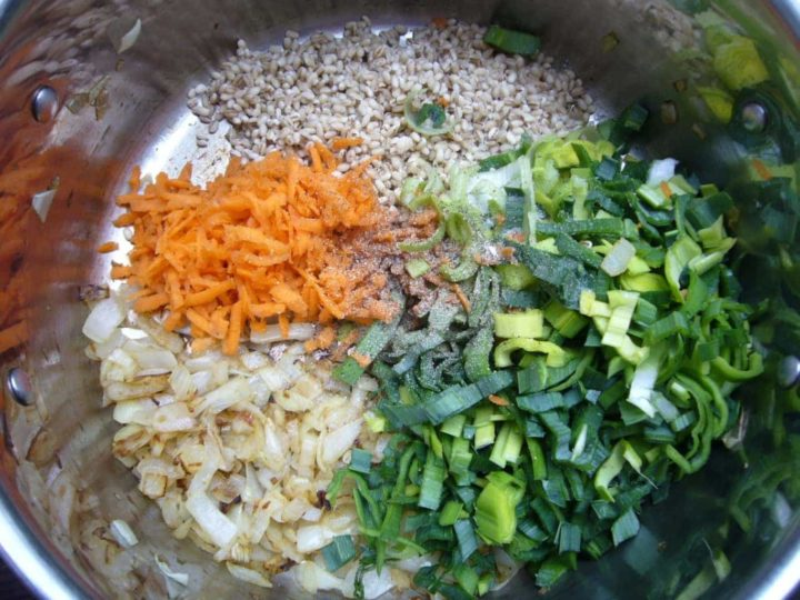 Ingredients used for barley soup placed in the cooking pot.