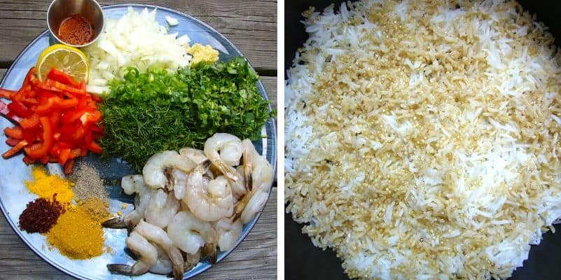 Ingredients needed for making shrimp with rice.