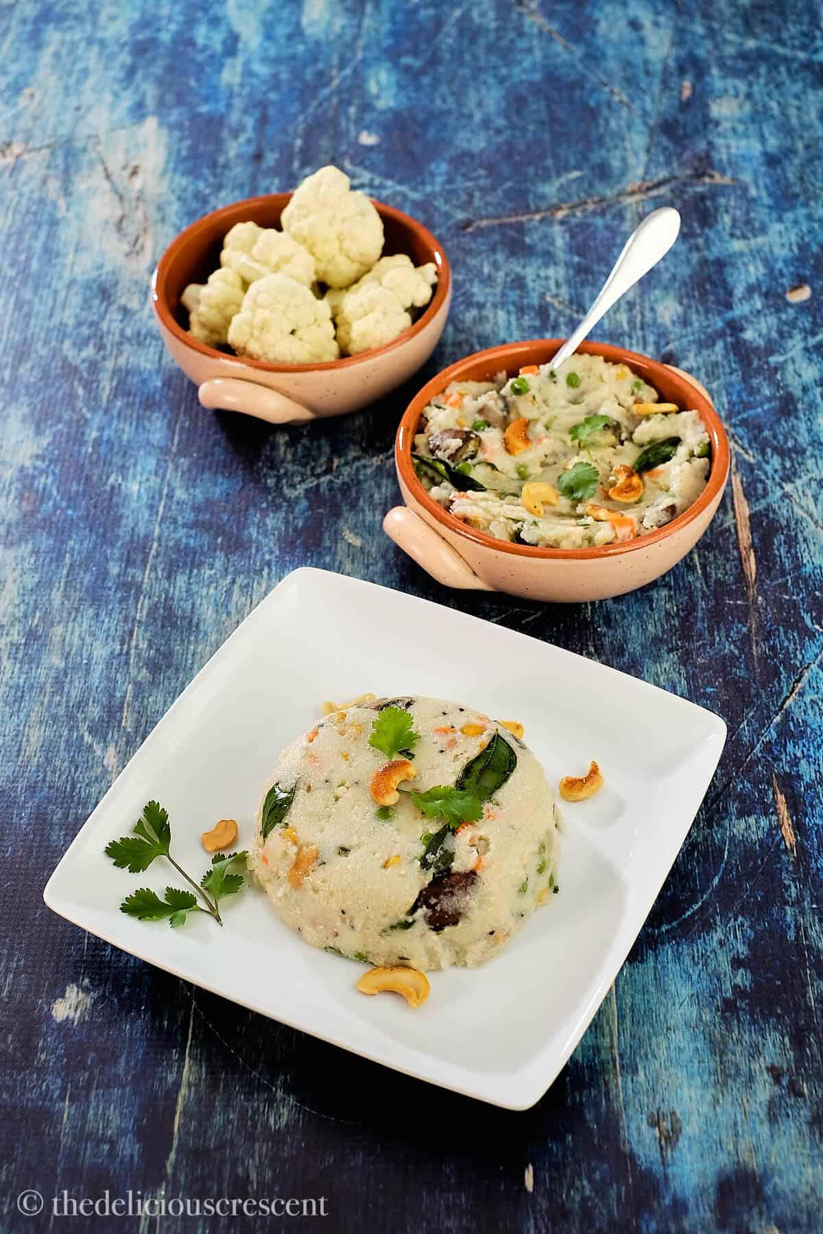 Indian savory semolina porridge in a plate.