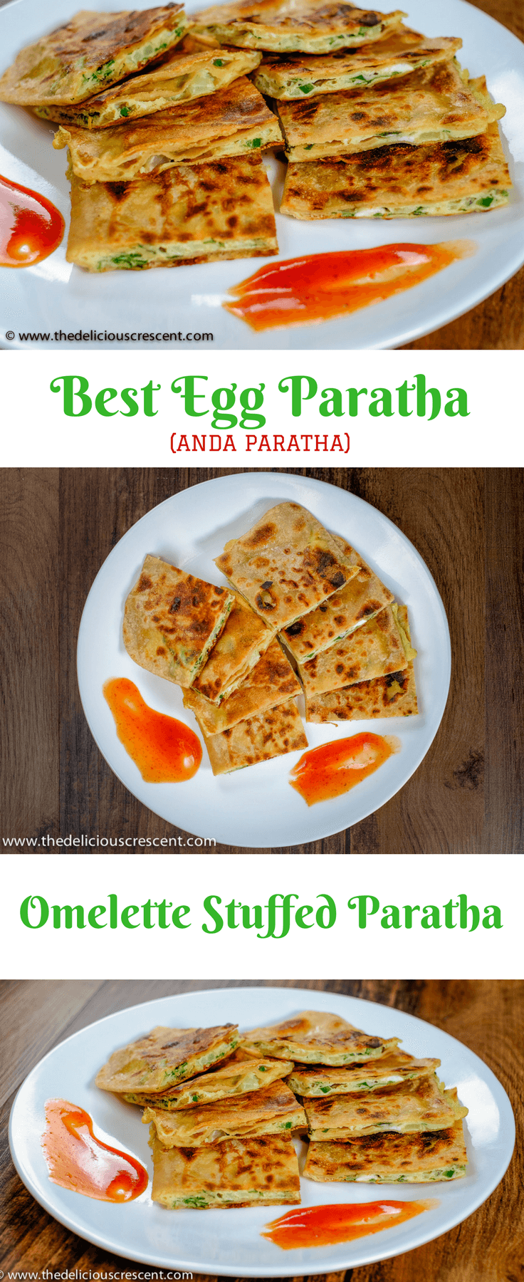 Egg paratha (Anda paratha) is omelette stuffed in a layered flat bread. It is a traditional Indian breakfast that is whole grain with high quality protein and good fiber.