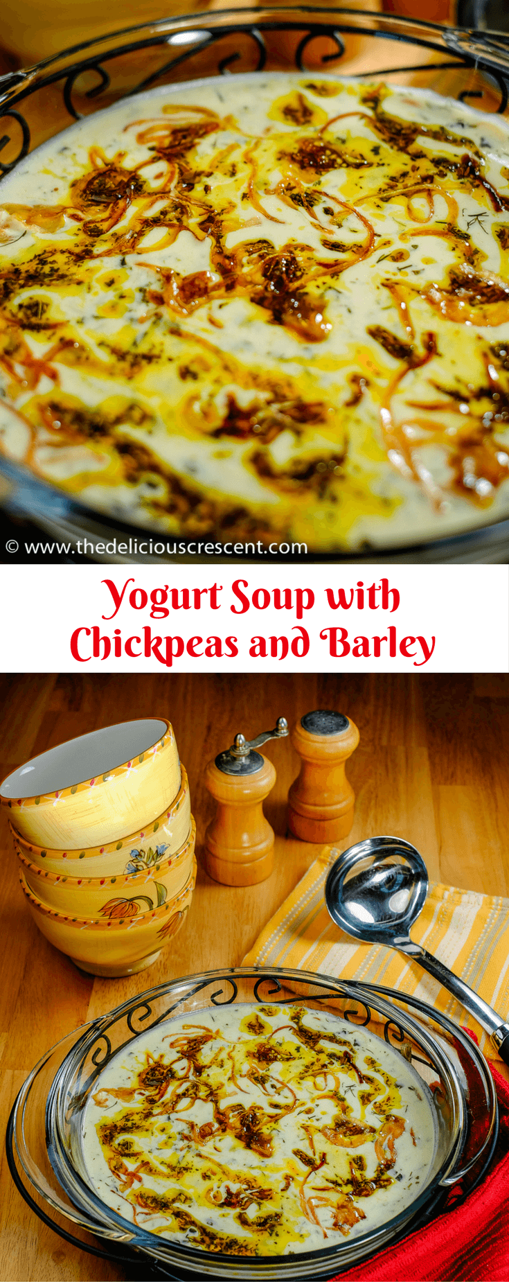 Yogurt Soup with chickpeas and barley is a creamy, aromatic heart healthy vegetarian soup infused with good fiber, protein, potassium and healthy fats!