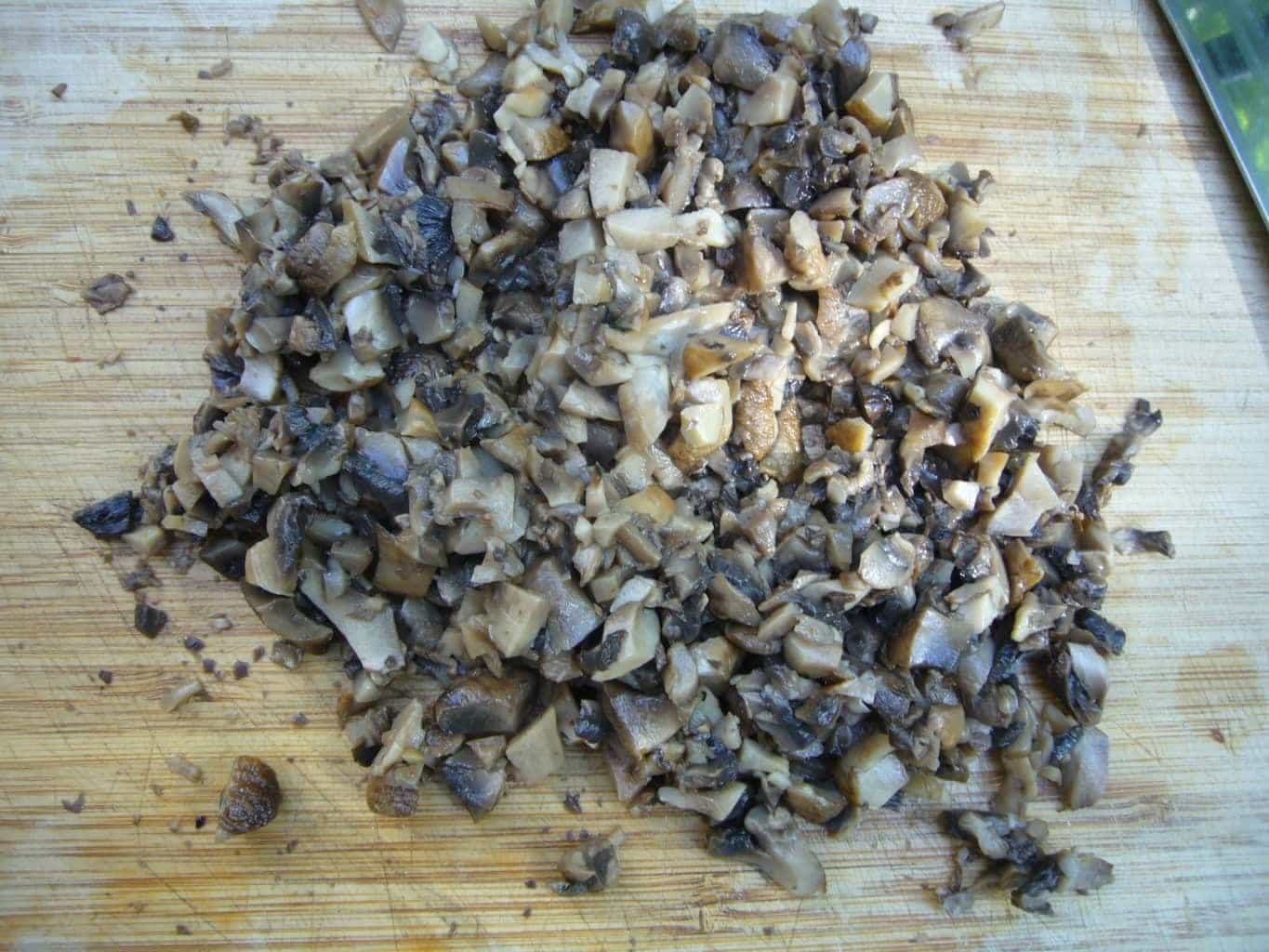 Roasted mushrooms finely minced.