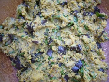 The mixture ready for making eggplant chickpea patties.