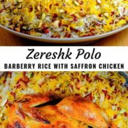 Different views of zereshk polo ba morgh (barberry rice with saffron chicken) served on a plate.