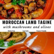 Different views of Moroccan lamb tagine cooked with mushrooms and olives, served in a dish.