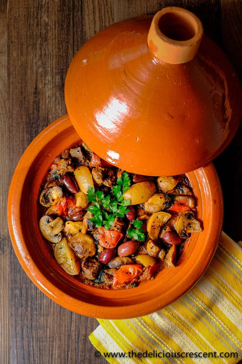 Lemony Lamb Tagine with Mushrooms and Olives