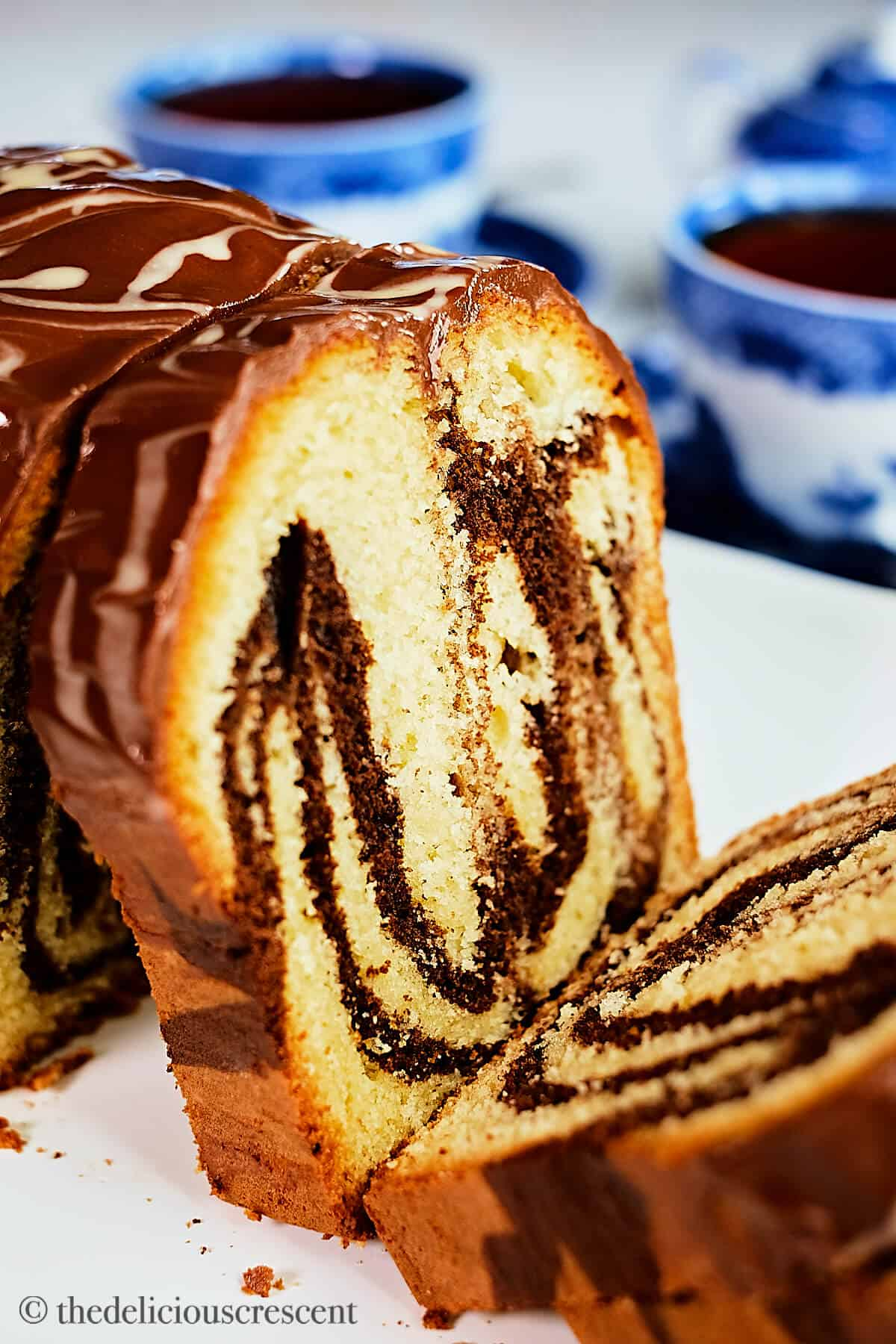Close up view of a marble cake made with tahini.